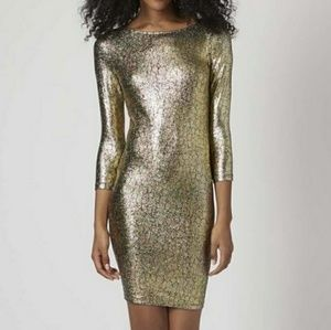 New Topshop Gold and Black Crackle Bodycon Dress